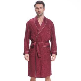 Nueva ropa de dormir de los hombres de manga larga ropa de dormir de seda Moda de los hombres Inicio Albornoz de seda pura moda de los hombres de casa camisón desde fabricantes