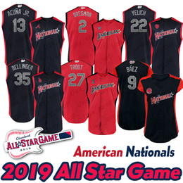 maillots de baseball américains Promotion 2019 Pete Alonso Jersey American League National League Freeman Yelich Michael Brantley Mike Troutes Yelich Bellinger Bysaseball Jerseys
