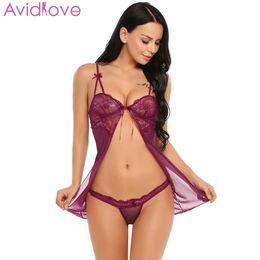 2019 mini camisa Avidlove pijamas mulheres mini lingerie sexy ver através do laço sexy ajustável espaguete chemise g-string lingerie pijama y19070202 desconto mini camisa