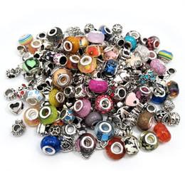 Livraison Gratuite 100pcs ou 200pcs mélanger Couleur Style Big Hole Résine et Alliage Charms Perles fit Européenne Pandora Charms Bracelet DIY ? partir de fabricateur
