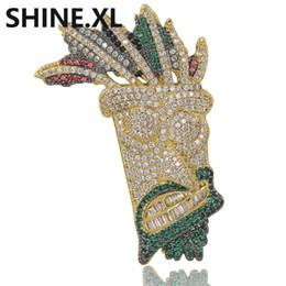 Pingente de corrente de ouro sólido on-line-Banhado A ouro UKA Máscara Pingente de Colar Sólido para Mulheres Dos Homens Micro Pavimentada Zircão Hip Hop Bling Charme Chains Jóias Presentes