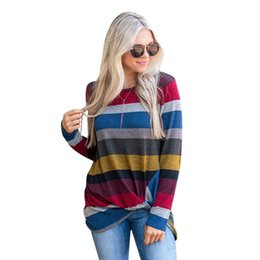 f91ef7414593a Women Fashion O Neck Asymmetric Knotted Striped Print T Shirt Ladies Casual  Loose Long Sleeve Pullover Tops
