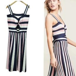 a1543188f1f skirt shots Promo Codes - 2019 summer new women s retro striped strap long dress  ice silk