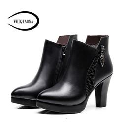 WEIQIAONA Женская обувь большой размер 33-43 молния острым носом короткие сапоги на высоких каблуках внутри стада или нет Женская обувь платье от