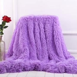 lanças de pele Desconto Super Macio Longo Shaggy Pêlo Distorcido Faux Fur Quente Elegante Aconchegante Com Fofo Sherpa Jogue Cobertor Cama Sofá Cobertor Presente