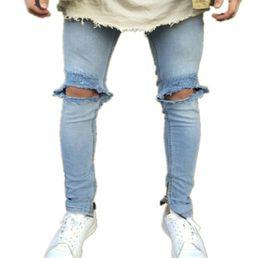 fabrik marke jeans Rabatt 2019New Ankunft CosMaMa Brand Factory Designer Slim Fit Mode zerrissene Knie Leder zerrissen cool beschädigten Biker Jeans