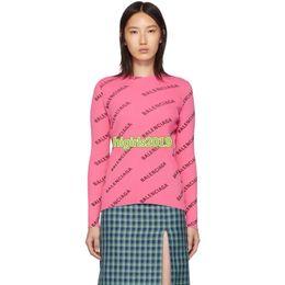 High End Frauen Mädchen Knitstrickjacke ganze Spitzen Langarmbluse Mehrfarben Shirt Strickwaren Modedesign Pullover Buchstabemuster Rundhalsausschnitt