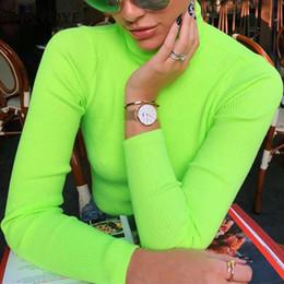 Camisetas fluorescentes online-Fantoye Fluorescent Green Turtuleneck Suéter de punto Mujer Otoño Invierno Casual Manga larga Suéter acanalado Streetwear jerseys