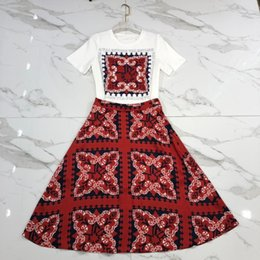 2fda9e89ea Free Shipping 2019 White T Shirts And Red Print Skirts Womens Designer High  End 2 Pieces Sets Womens 82992
