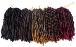 2019 extensiones de cabello de primavera Mtmei hair Fluffy Spring Twist Extensiones de cabello Negro Marrón Burdeos Ombre Crochet Trenzas Trenzas sintéticas 8 '' 110g rebajas extensiones de cabello de primavera
