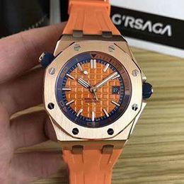 Relógios impermeável on-line-Moda Royal Oak Offshore Diver 42 milímetros Movimento automático 15703 Series Belt Rubber Mens Black Dial vidro Sports Voltar Relógios