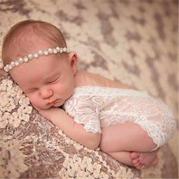 2019 accessoires nouveau-né Mode Bébé New Born Photographie chapeau Props broderie dentelle bébé Romper Jumpsuit nouveau-né Séance photo Accessoires fille accessoires nouveau-né pas cher
