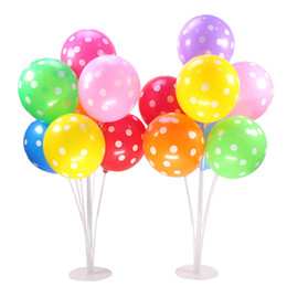 plastic balloons stick Coupons - 7 Tubes Balloons Holder Column Stand 70cm Transparent Plastic Balloon Stick Birthday Party Decoration Valentines Day Wedding Balloons Decor