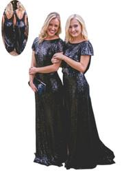 Longues robes de soirée boho bleu en Ligne-Bleu marine Boho demoiselles d'honneur robes 2019 pas cher longue dos nu paillettes dos nu manches courtes gaine Designer Prom soirée robe de soirée robes pour femmes