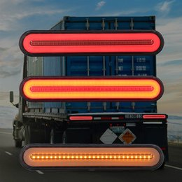 24v neon lights Promo Codes - 2Pcs Super bright Trailer Stop Tail Lights 12-24V Neon Lamp LED RV Trailer Stop Flowing Turn Signal Brake Rear Tail Light