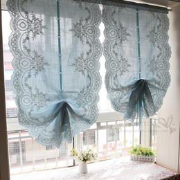 2019 stringa di paglia all'ingrosso Blue Roman Lift Curtain Balloon Tenda a forma di ventaglio Tende di lusso per soggiorno Tendaggio tende oscuranti pieghe oscuranti