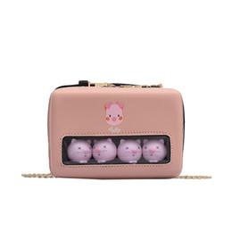 lindo teléfono móvil coreano Rebajas Corea transparente bolsa de mensajero linda del cerdo Diagonal Bolsa Fresca pequeña Mobile Phone Messenger hombro del bolso Bolsos Mujer