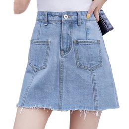 fd7ce117ccf0 Vendita calda a vita alta A Line Mini Denim Gonna Donna 2019 Estate New  Short Jeans Gonna Fodera Doppie tasche Sky Blue Short