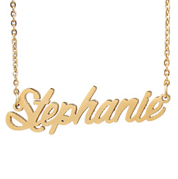 "charm initials necklace chains Coupons - Personalized custom 18K Gold Plated Stainless Steel Script Name necklace "" Stephanie "" Charm Nameplate Necklace Jewelry gift NL-2430"
