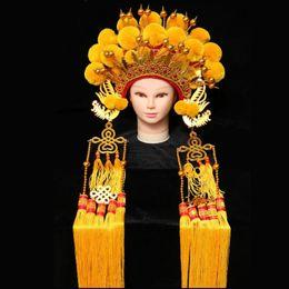 häkelhut rentier Rabatt Chinesische Pekingoper-Kopfbedeckungsdrama Kostüm-Zubehör Alte Braut Phoenix-Kronenköniginkarneval Halloween-Cosplayhut
