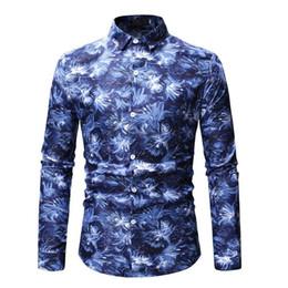 2019 blu bluse di fiori Camicia da uomo a maniche lunghe con fiori Camicia casual da uomo di moda camicie hawaiane blu grigio sconti blu bluse di fiori
