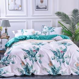 letti singoli Sconti Completo di biancheria da letto in cotone stampato a 4 pezzi stampato in cotone da 60 pezzi di cotone a fiocco lungo