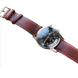 7773aa8c352 Onthelefel artesanal retro couro genuíno vinho tinto faixa de relógio cinta  18mm 20mm 22mm pulseiras de relógio de pulso cinto de prata polido fivela  ...