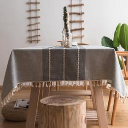 Länglicher tisch online-Nähte Quaste Tischdecke Schwere Baumwolle Leinen Staubdicht Tischabdeckung für Küche Esszimmer Tischplatte Dekoration Rechteck / Oblong