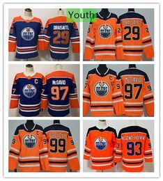 Camisa azul alaranjada do hóquei on-line-Juventude Edmonton Oilers Connor McDavid 29 Leon Draisaitl Wayne Gretzky Camisa de Hóquei Ryan Nugent-Hopkins Azul Laranja Crianças Meninos Costurado Jersey