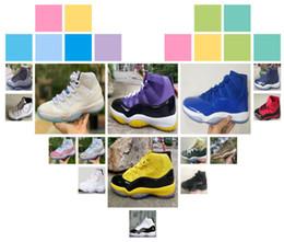 2018 New Hot vente 11 11s Chaussures de basket-ball blackyellow bleu blanc rose snaker blanc gris 11s taille haute Chaussures de basket-ball pour hommes taille: 40-47. ? partir de fabricateur