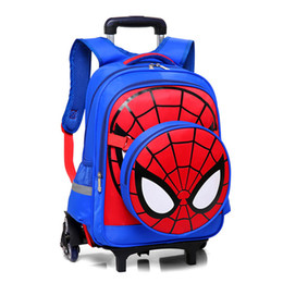 mochila crianças Desconto Spideman Crianças Sacos De Escola Meninos Crianças Mochilas Escolares Com 2/6 Rodas Back Pack Meninas Trolley Bag Removível Bagagem Backpac