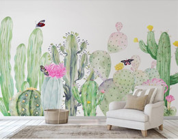 woods country decor Coupons - Custom Size 3D Photo Wallpaper Living Room Mural Hand-painted Cactus 3D Picture Backdrop Mural Home Decor Creative Hotel Study Wallpaper 3D