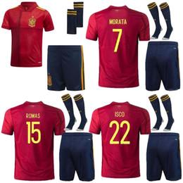 Spanische socken online-KIDS SOCKE KIT 2020 Spanien Eruo Cup Fußball Jerseys 2020 Spanien Camiseta de futbol ASENSIO MORATA Fußballhemd ISCO RAMOS INIESTA maillot Fuß