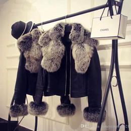 fuchspelzmanschetten Rabatt faaux Fuchspelzkragen Pelz Manschette PU-Leder der neuen Art und Weise Entwurfsfrauen kurze Jacke Mantel casacos plus Größe XXL