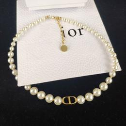 2019 collier de fil de chaîne Nouveau Pearl CD Lettre de mode Collier de haute qualité collier de perles femmes Bijoux NO BOX