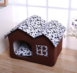 browning bedding Coupons - Double Roof Pet House Brown Dog Kennel Fashion Dog Cat Soft Warm Nest Puppy Teddy Sleeping Bed