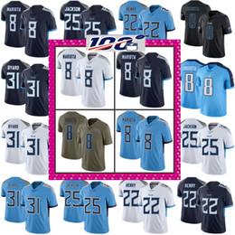 Centésimo patch 2019 titans 8 Marcus Mariota 31 Kevin Byard 22 Derrick Henry 25 Adoree Jackson Vapor Intocável Tennessee Jersey de