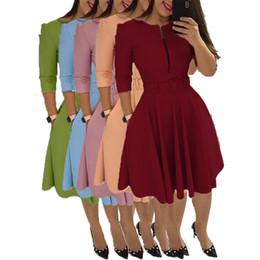 vestidos de color rosa claro casual Rebajas Vino rojo rosado púrpura azul claro mujeres una línea vestido patinador media manga Office Lady Casual cintura alta Midi vestido E3115