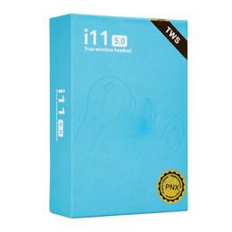 Maçã caixa azul on-line-2019 i11 tws sem fio bluetooth fones de ouvido fones de ouvido com janela pop-up gêmeos mini fones de ouvido para iphone x ios i11 android 5.0 touch caixa azul