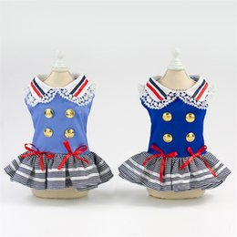 f1949226bb1b6 Dog Badge Military Dress Lace Bow Princess Skirt Spring And Summer Pet  Clothes Lovely Blue The New 17yp C1