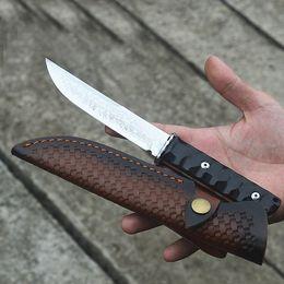 samurai messer Rabatt Neue Ankunft Damaskus Samurai Messer VG10 Damaszenerstahl-Messerklinge voller Zapfen Ebony Griff Gerade Messer mit Lederscheide