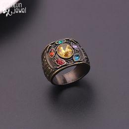 2019 kristall infinity ringe Mode Film Avengers 4 Thanos Ringe Unendlichkeit Kristall Männer Ring antiken schwarzen Ring Frauen Männer Fans Souvenir Schmuck Zubehör rabatt kristall infinity ringe