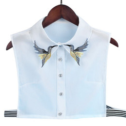 611383cd4c8e0b Women Shirt Fake Collar Tie Fashion Heavy Bird Embroidery Crystal Sewing  Detachable Collar False Lapel Blouse Top shirts fake ties outlet