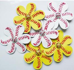 Кожаная вечеринка пользу онлайн-Бейсбольные заколки для волос из софтбола Кожаные заколки для волос Цветочные заколки для волос со стразами Луки со стразами Бейсбольные заколки для волос Party Favor 30шт GGA1715