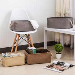 Льняная ткань для одежды онлайн-New large folding Linen fabric storage basket kids toys storage box Clothes Bag organizer Holder with Handle