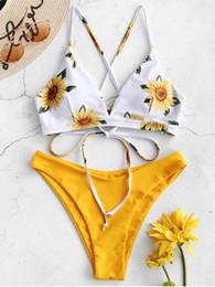2019 biquínis de borracha zada Girassol Criss Cross Bikini Set - Borracha Ducky Amarelo M biquínis de borracha barato