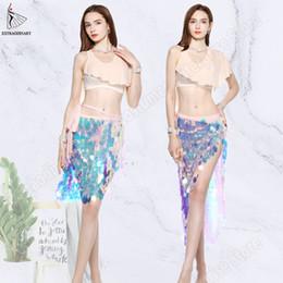 Catene d'anca di danza del ventre online-New Paillettes Hip Scarf Belly Dance Top Sexy Women Practice Clothes Cintura di danza del ventre Abiti Outfit Catena