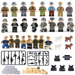 militärkriegsspielzeug Rabatt 24X Lot Der Zweite Weltkrieg WW2 Armee Marine-Marine-Soldaten Offizier Militär Spielzeug Action-Figur-Bausteine mit Waffe
