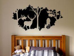 Animali della foresta Adesivo Paese Caccia Design Finestra Adesivo Foresta Cervi Vinile Wall Sticker Home Bedroom Decor da