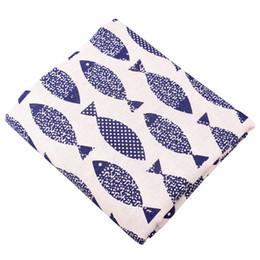 Medidor de lino online-Quanfang imprimió la tela de lino de algodón para coser acolchar, bricolaje paño de cortina bolsa cojín, muebles sofá cubierta medio metro